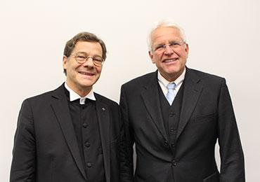 Bischof Dr. Markus Dröge und Stadtsuperintendent Rolf Domning beim Jahresempfang des Evangelischen Kirchenverbandes Köln und Region