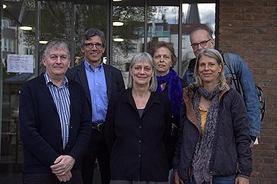 Mit-Veranstalter des Gipfels von links: Joachim Ziefle, Pfarrer Jost Mazuch, Martina Domke, Pfarrerin Dorothee Schaper, Michael Manthey, Pfarrerin Reinhild Widdig