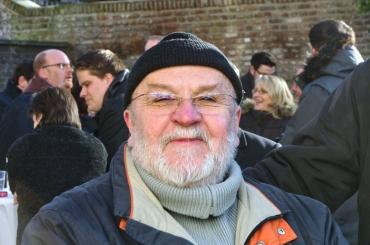 Kurt Granzer mit Kolleginnen und Kollegen beim Richtfest in der Kartause